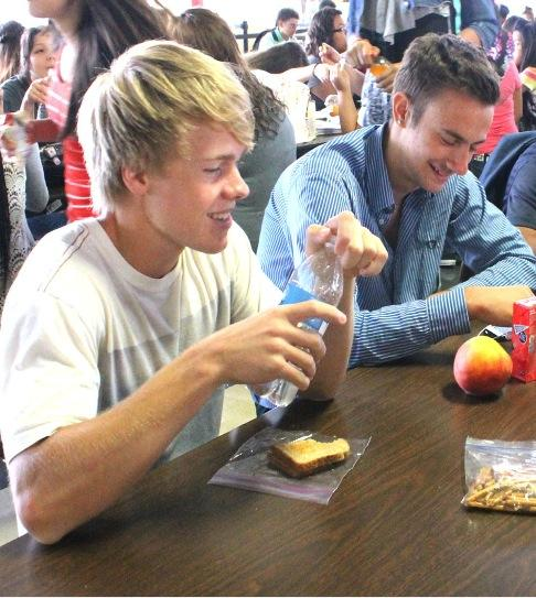Foreign Exchange students Eivind Jonesberg and Domiziano Luisetti socializing during lunch. Jonesberg and Luisetti came from the Explorius organization and World Heritage program, respectively.