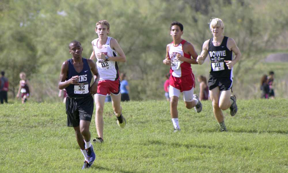 Sophmore Julian Hodges sprints ahead of his competion at a Del Valle meet. Hodges plans on placing at other events.