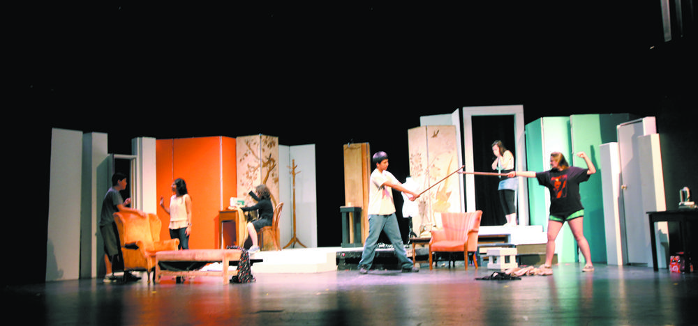 Speech and debate students rehearse newly learned techniques upon the Akins Journey Theater stage. Their next competition is Oct. 19 at Jack C. Hayes High School.