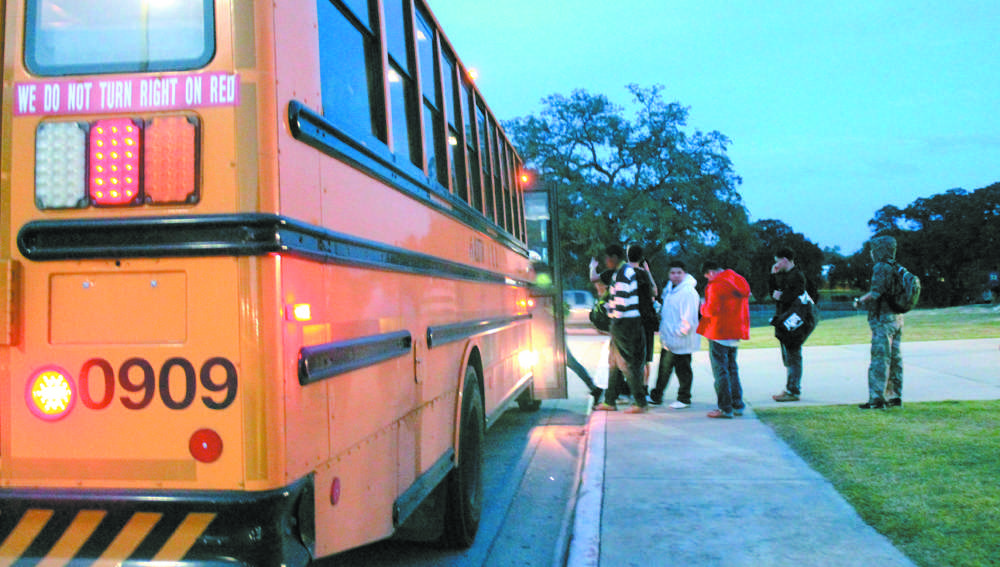 Students step on board the late bus after school. Earlier this year the late bus stopped running because of a lack of funding and abuse by students of the late bus.