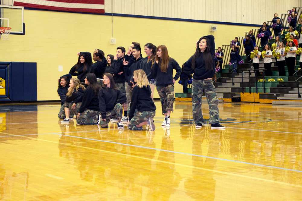 """The 2013-2014 new hip-hop team strikes a pose after a pep rally. They danced to """"Just Blaze"""" by  Jay-Z."""