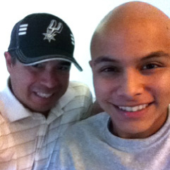 Criminal Justice teacher David Lopez poses for a shot with his nephew T.J. who suffers from Ewing's Sarcoma.
