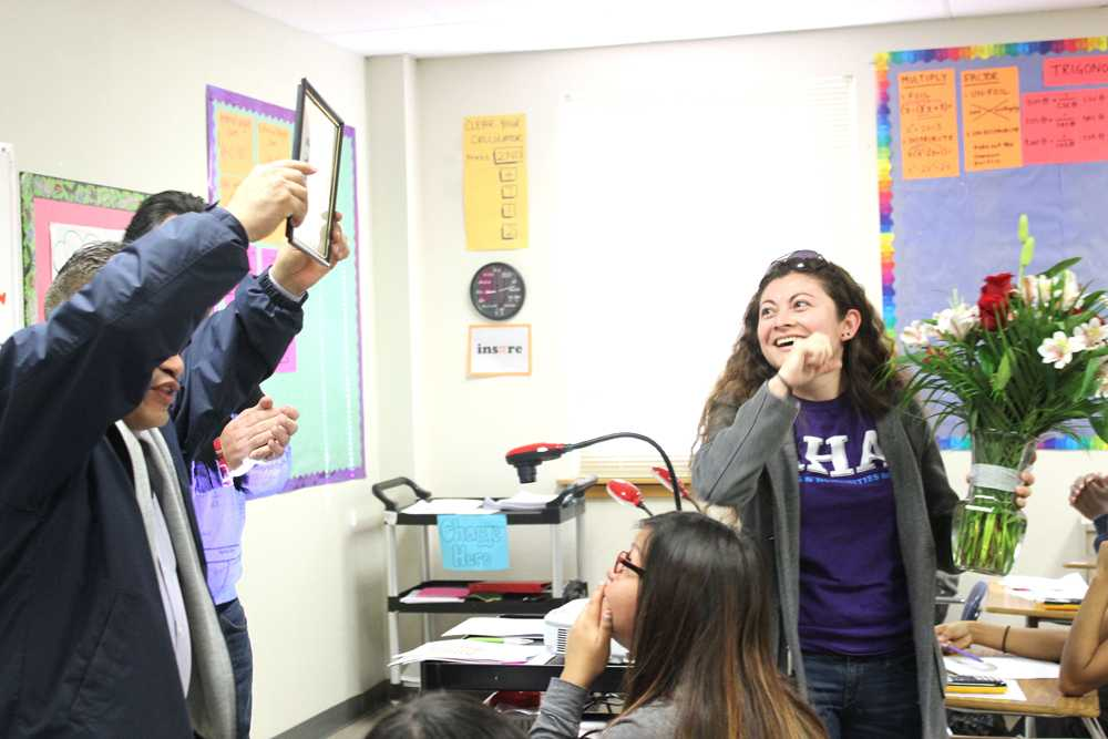 Briseno shows excitement in her crowning moment of Teacher of the Year. This was Briseno's first time winning.