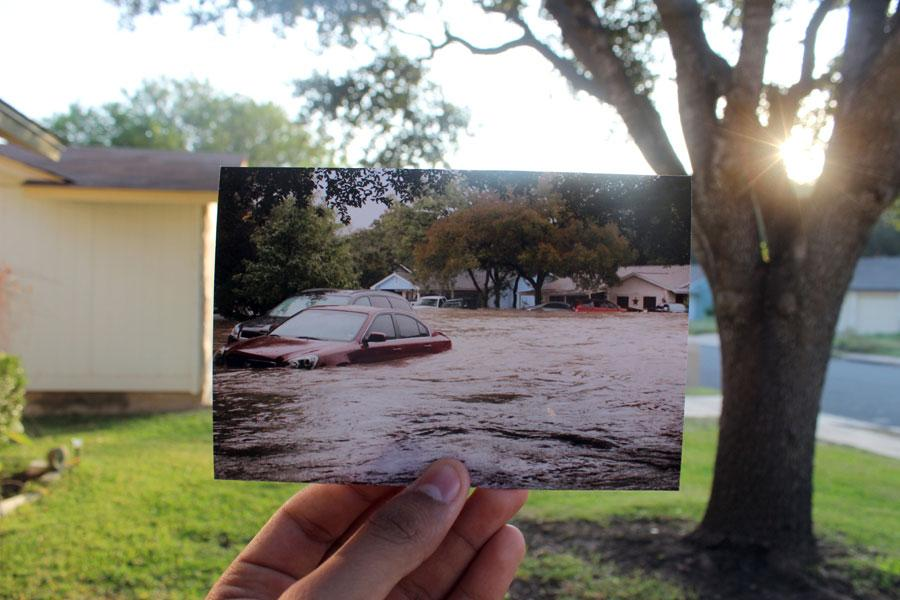 A photo is taken in the same spot during last year's Halloween flood.
