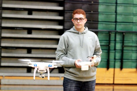 Junior Zach Trevino demonstrates the drone