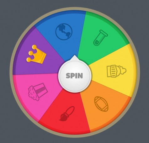 The Trivia Crack spinner features various categories of questions, including sports, history and entertainment.