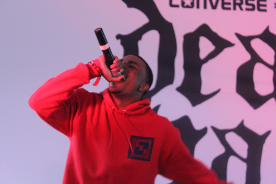"""Vince Staples raps his way through his set which featured songs from his """"Hell Can Wait"""" EP and his mixtape titled """"Shyne Coldchain Vol. 2."""" Staples put on a great performance despite his voice being weak due to illness."""