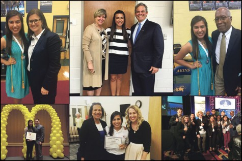 Top left: Valentina Tovar poses with Akins Principal Brandi Hosack. Top center: Tovar poses with Austin Mayor Steve Adler and his wife Diane Land. Tovar had the opportu- nity to speak at his first State of the City address. Top right: Tovar poses with Akins High School's namesake Dr. Charles Akins. Bottom left: Tovar poses with the president of the Greater Austin Hispanic Chamber of Commerce, Mark Madrid. She received the Ronald McDonald Hacer Scholarship. Bottom center: Tovar poses with her Austin Youth Council Directors Dr. Chiquita Eugene and Erika Cooper. Bottom right: Tovar and other students await the President Obama's speech with the city manager and the National League of Cities Convention Director. The Congressional City Conference took place in Washington D.C. from March 7-11.
