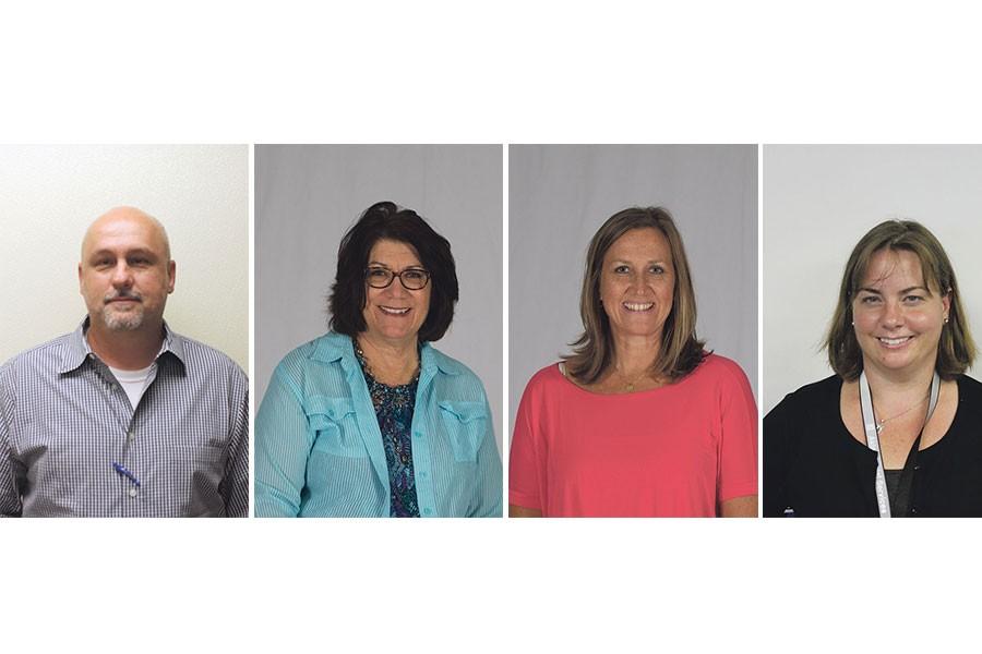 Eric John, Agriculture teacher; Vickie Warr, AHA academy coordinator; Kristina Vannoy, math teacher; Mary Singer, English teacher