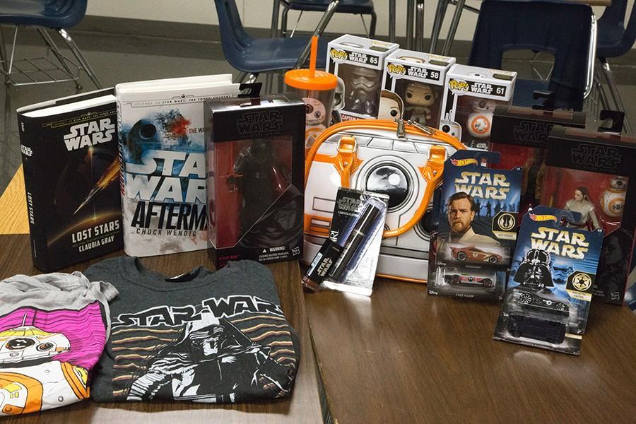 Health teacher Teresa Delgado shows off her collection of Star Wars merchandise at a recent Geek Force meeting.