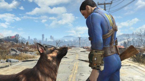 A still image from the Fallout 4 trailer shows  the avatar for the main character and Dogmeat when they meet up for the first time.