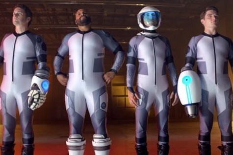 Lazer Team members show all four of the protagonists posing dramatically.