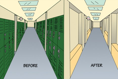 Lockers before and after removal