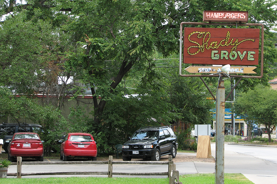 Shady Grove is an aptly named restaurant nestled in a large Pecan tree grove on Barton Springs Road just east of Zilker Park. It featured a sprawling outdoor patio where customers can sit under the shade of the big pecan trees.