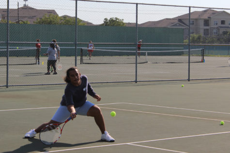 Senior Christian Rico returned the ball to the Del Valle player to win his final match.