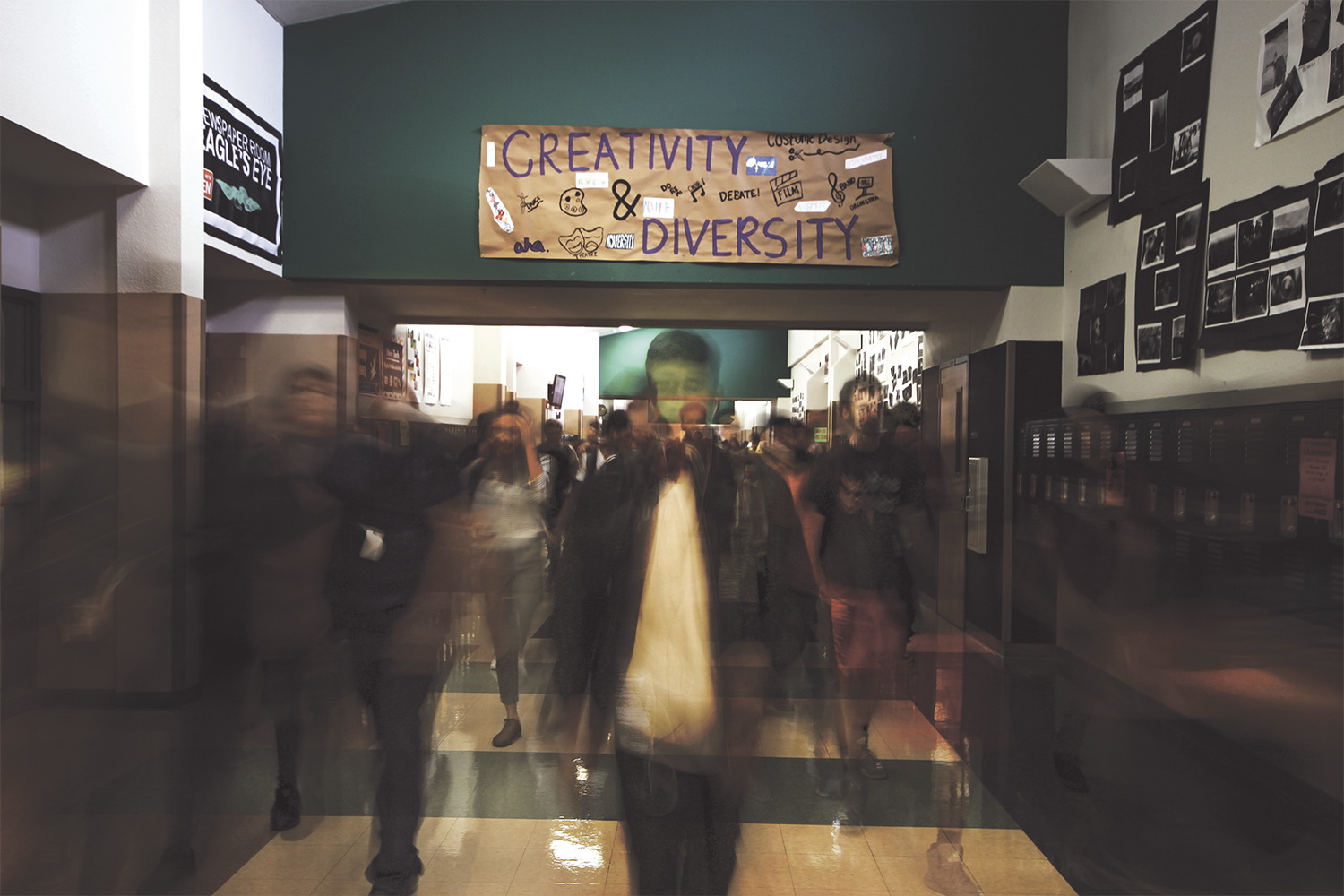Students walk through the halls of Akins, designed for 2,300 students but now has 2,800.