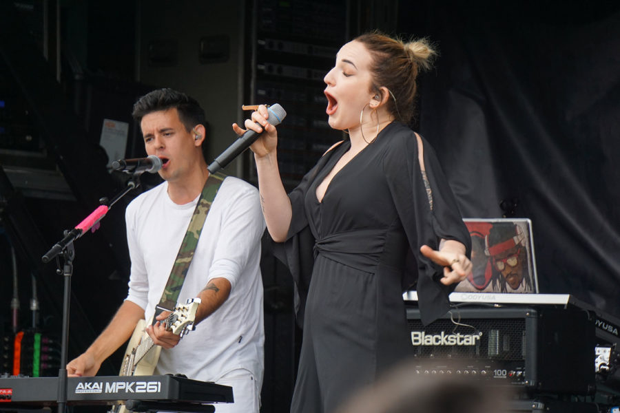 Nikki Whitehead (right) and Dylan Lauzon (Left) perform on the main stage during the HSN tour stop.