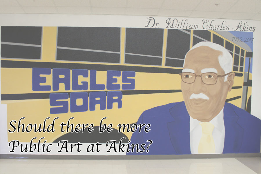 A+mural+of+school+namesake+Dr.+W.+Charles+Akins+greets+students+near+the+main+entrance.+It+was+recently+painted+after+administrators+removed+unused+lockers+from+the+wall.