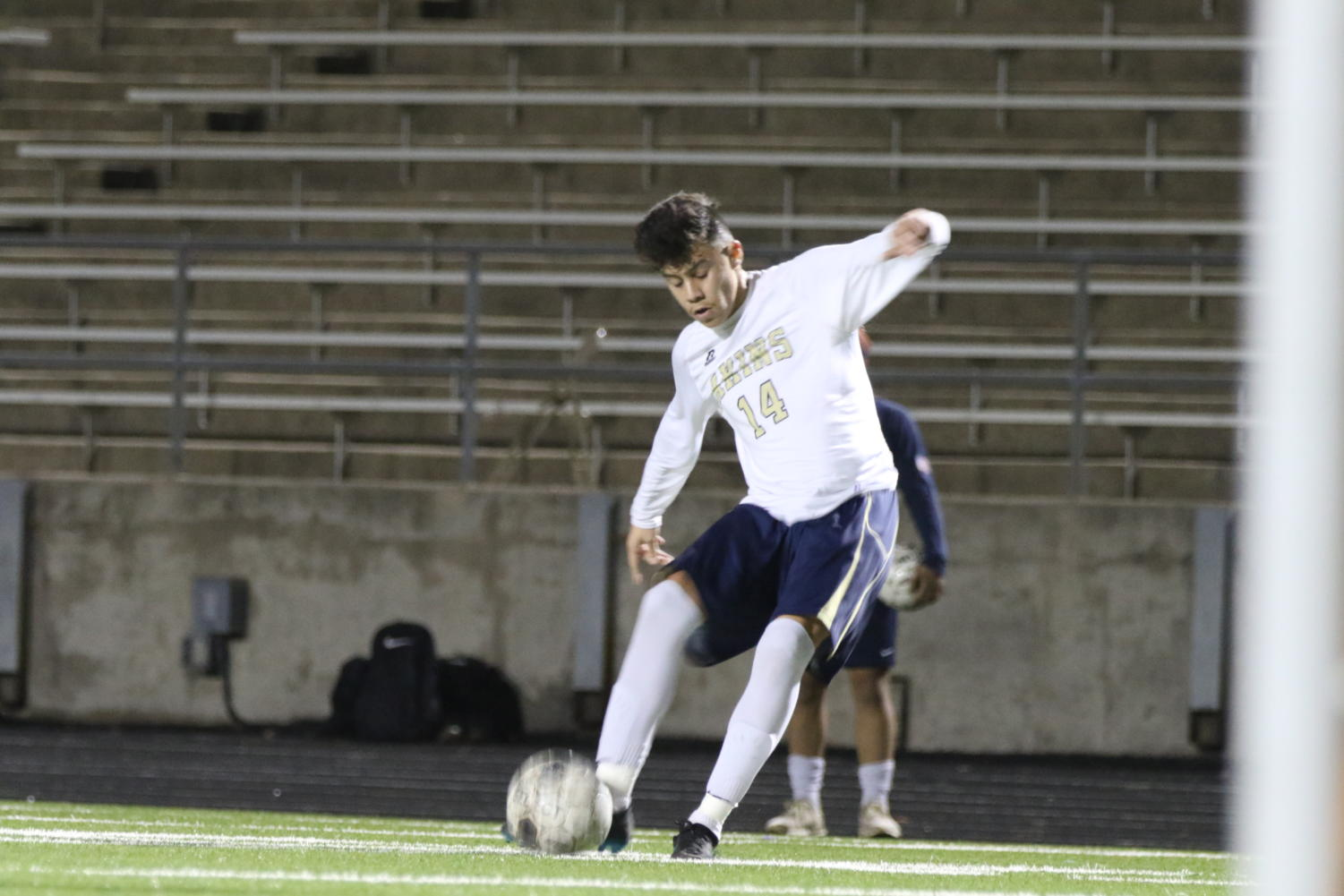 Junior Brian Medina kicks a goal after a penalty, scoring vs Corpus Christi Winn.