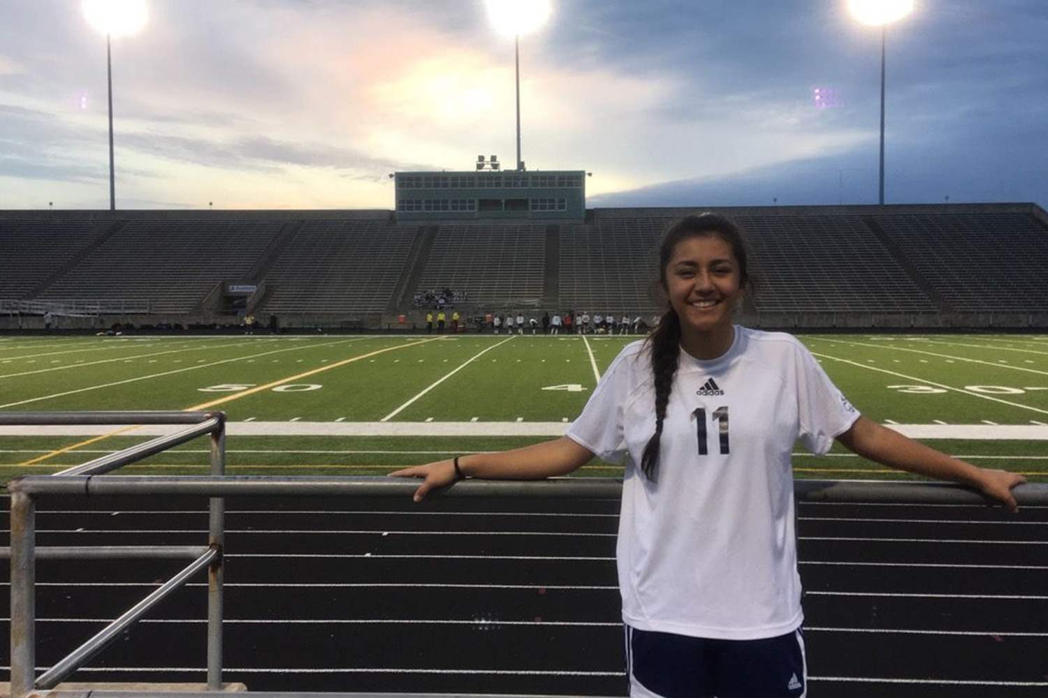 Freshman Paula Palacios poses at Burger Stadium before one of her soccer games. She is raising money for a surgery