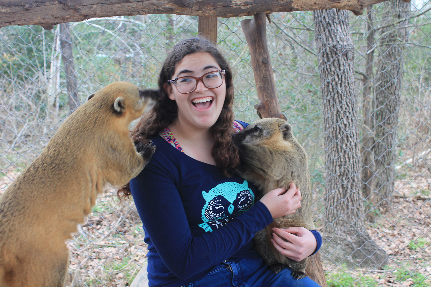 Sophomore Julia Clay a volunteer at the Capitol of Texas zoo in Bastrop holding a small Coatimundi