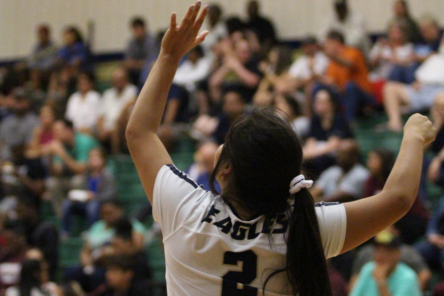 Senior Delia Quiroz serves the ball at an Austin High match. Akins won with a score of 3-2.