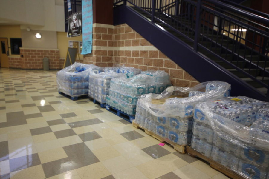 During the water crisis many people and companies donated water to the district and individual schools. After it was lifted many cases remained in the Akins foyer.