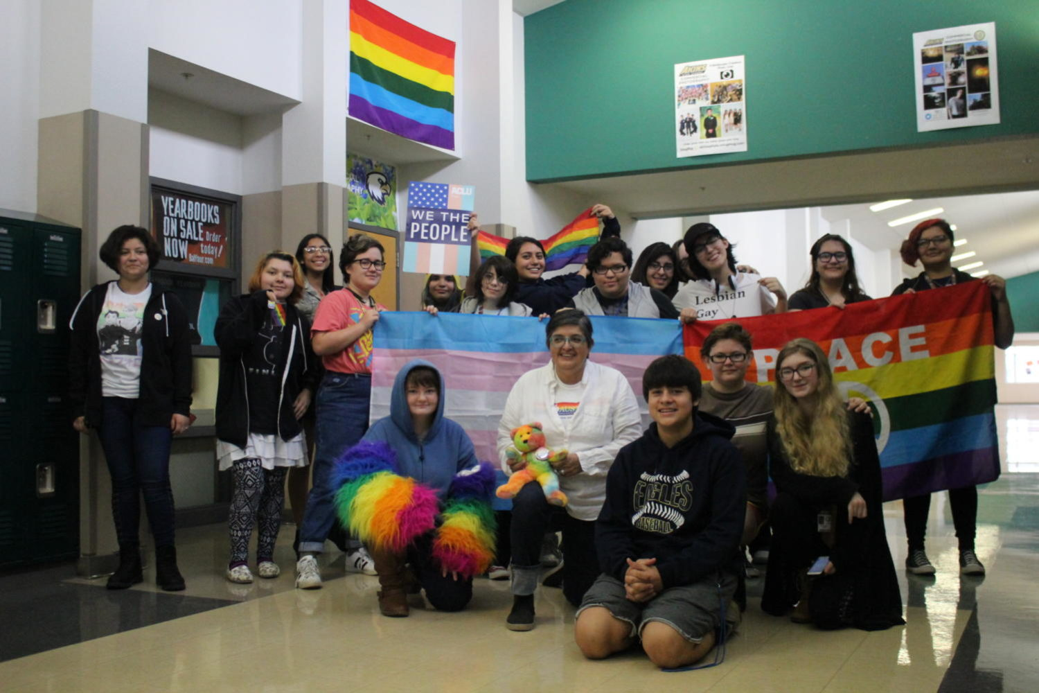 Members of the Akins Gender & Sexuality club show off their pride during a meeting. The club has recently grown in size to 43 new members.