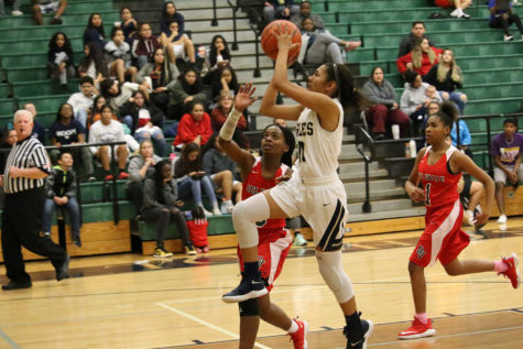 Senior Kianna Haider lifts off for a layup shot in the game against the Del Valle Cardinals.