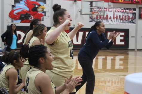 Freshman Melanie Cantu cheers on her team in a game against Del Valle. Akins beat Del Valle 57-51 sweeping them for the season.