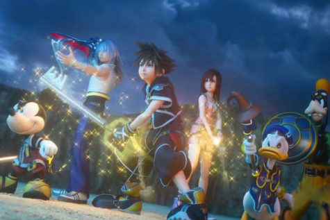 Characters from Kingdom Hearts prepare for battle in a cutscene from dream drop distance