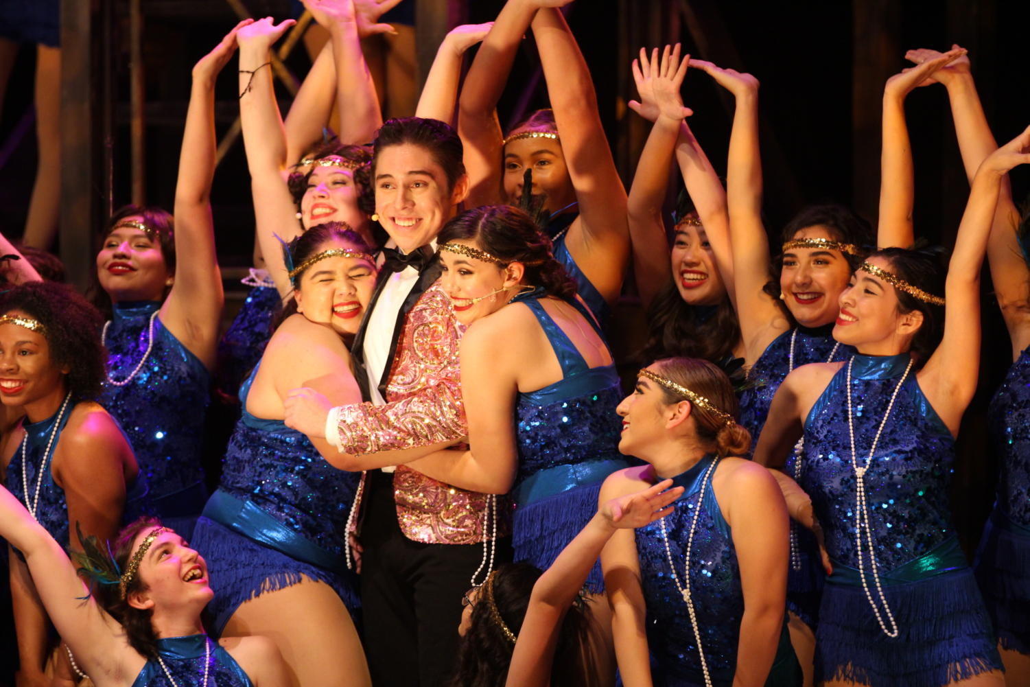 Senior Jonathan Macedo preforms in Chicago. Macedo has preformed in several musicals at Akins including Rock of Ages and Hairspray and is also involved in theatre outside of school with Zach Scott Theatre Pre-Profesional Company.
