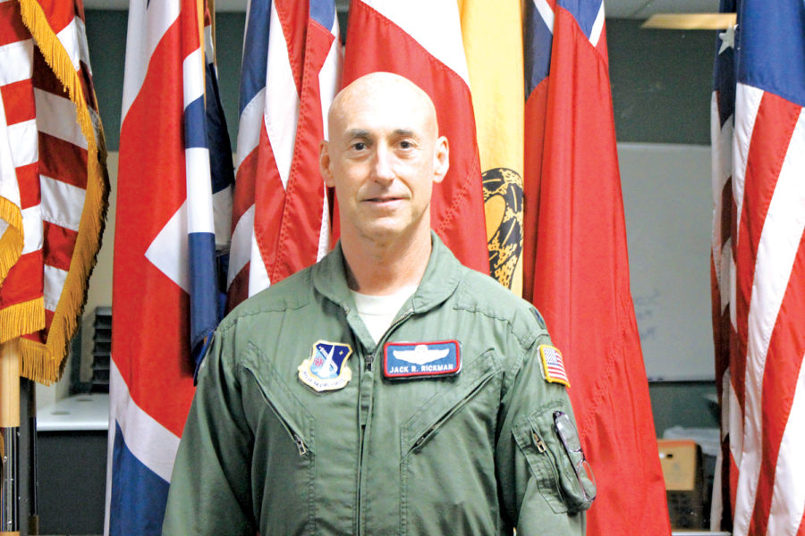 Colonel+Jack+R.+Rickman%2C+a+command+pilot+with+3200+total++ying+hours+uses+his+experiences+to+help+the+AFJROTC+program.+Col.+Rickman+recounts+his+past+missions%2C+like+having+to+land+a+C-5%2C+a+large+military+transport+aircraft%2C+with+the+nose+gear+retracted+and+a+nearly+empty+fuel+tank+with+50+passengers+on+board.+