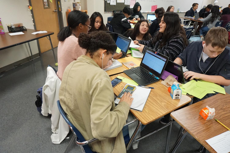 Students work during Elisha Aldana's 5th Period Pre-AP Algebra class. All freshmen that belong to the Early College High School program must take Pre-AP core classes.