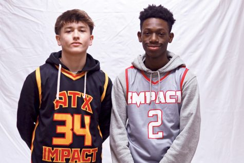Sophomore AAU players Kale Perkins (left) and Torrey Smith (right) pose for a photo. They both play for the Impact Sportz basketball club in South Austin.