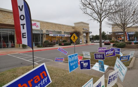 Campaign signs are squeezed into a parking lot island in front of the voting location in Southpark Meadows shopping center. It is the closest early voting location near Akins High School.
