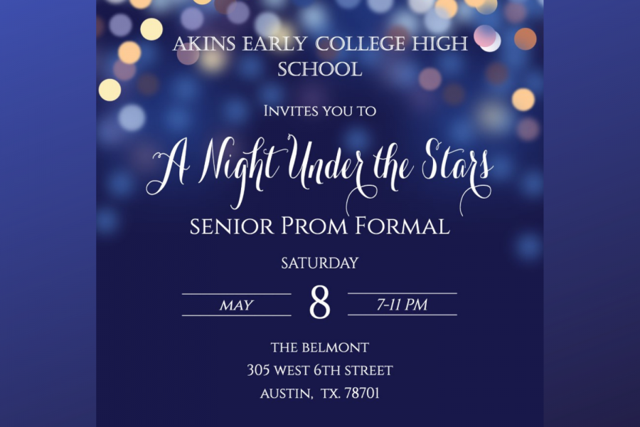 Senior prom will be held at The Belmont on Saturday, May 8th from 7 pm-11 pm.
