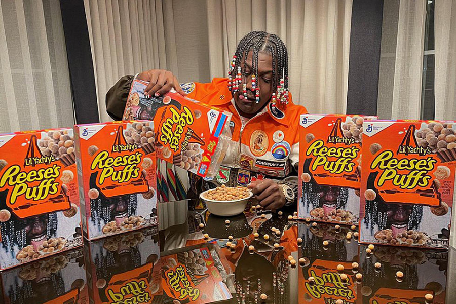 Innovation During  Covid- Rapper Lil Yachty shows off his branded box of Reese