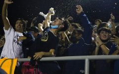 Students celebrate the Homecoming Game on the night of September 30, 2021.