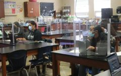Students in Dr. Laura Goveas 7th period Biomedical Engineering class are learning while wearing masks.